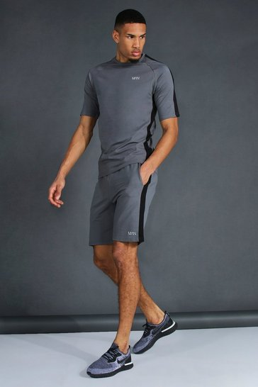 Charcoal grey Tall Man Active T-shirt And Short Set
