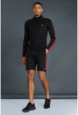 Set con pantaloncini e felpa con collo a imbuto MAN Active Tall, Nero