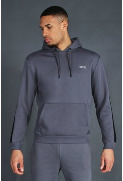 Charcoal grey Tall Man Active Oth Side Stripe Hoodie