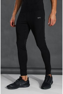 Black Tall Man Active Skinny Fit Jogger With Zips
