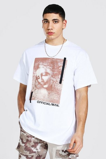 White Oversized Official Man Statue Print T-shirt