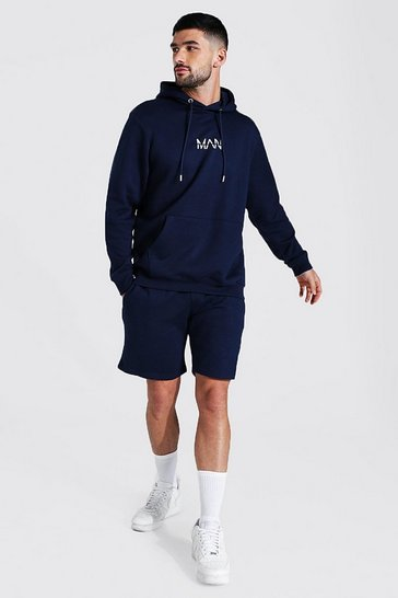 Navy Recycled Original Man Short Hooded Tracksuit
