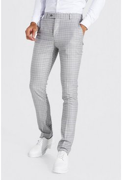 Tall Straight Leg Smart Hose mit Karomuster, Grau
