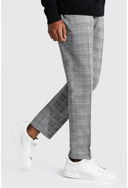 Grey Tall Straight Leg  Check Cropped Smart Trouser