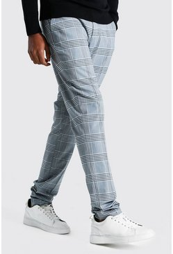 Blue Tall Straight Leg Windowpane Check Smart Trouser