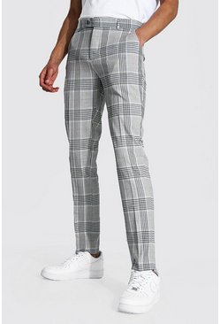 Grey Tall Super Skinny Check Cropped Smart Trouser