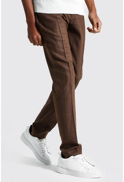 Brown Tall Tapered Check Cropped Smart Trouser