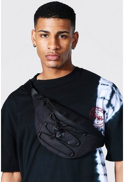 Black Man Branded Bumbag With Lace Up Detail
