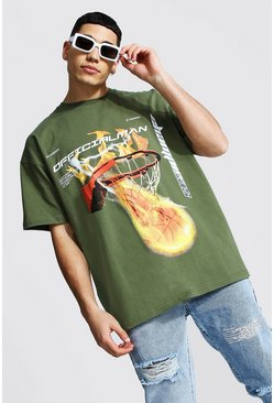 Khaki Oversized Flame Basketball Print T-shirt