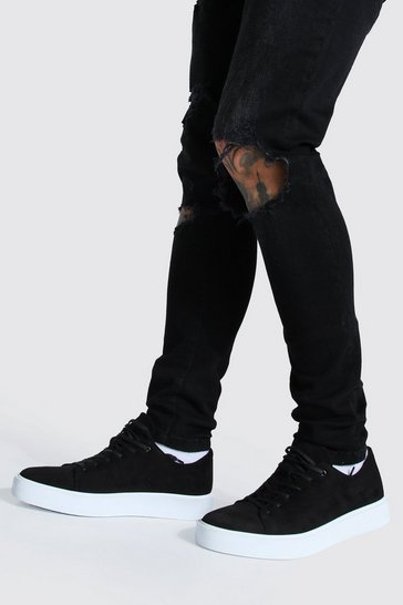 Black Suede Lace Up Trainer