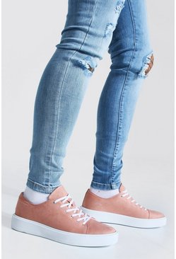 Suede Lace Up Trainer, Pink rosa