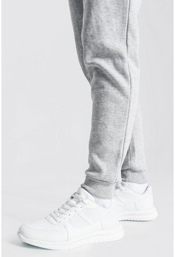 Suede Panel Trainer, White blanco