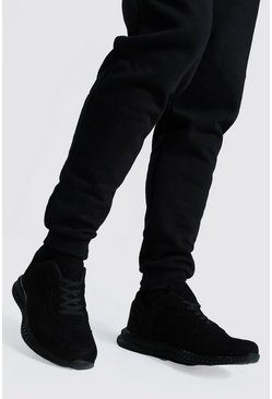 Black Suede Panel Trainer