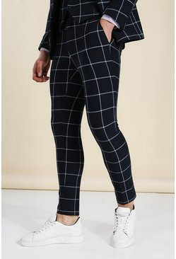 Super Skinny Large Check Suit Trousers, Black schwarz