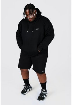 Black Plus Size Man Dash Hooded Short Tracksuit