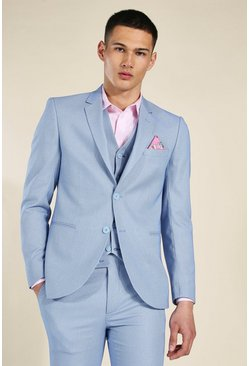 Skinny Blue Textured Single Breasted Jacket