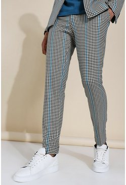 Black Skinny Dogtooth Suit Trousers