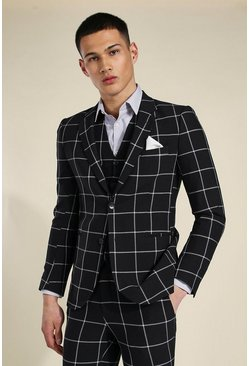 Black Super Skinny Check Single Breasted Jacket