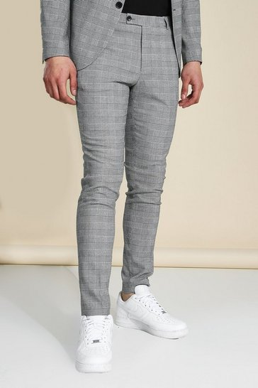 Skinny Black Check Suit Trousers