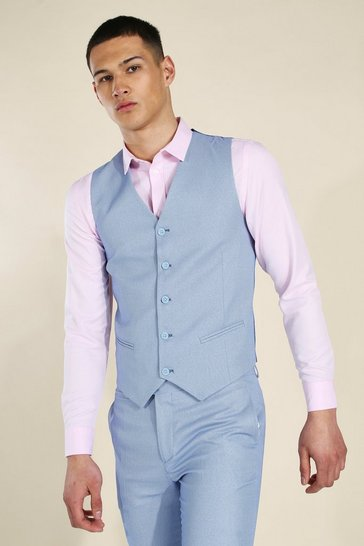 Skinny Blue Textured Waistcoat