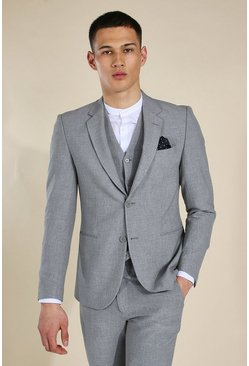 Skinny Grey Single Breasted Jacket