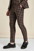 Skinny Brown Check Suit Trousers