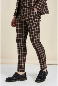 Skinny Brown Check Suit