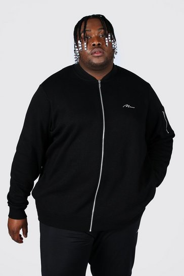 Black Plus Size Man Script Ma1 Jersey Bomber