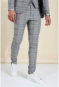 Skinny Grey Check Suit Trousers