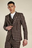 Skinny Brown Check Single Breasted Jacket