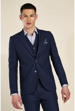 Skinny Navy Check Single Breasted Jacket