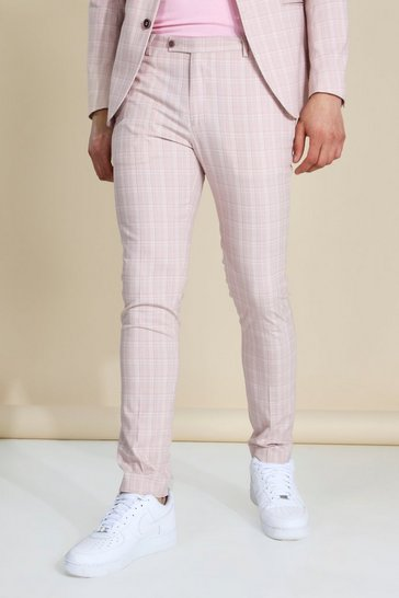 Skinny Pink Check Suit Trousers