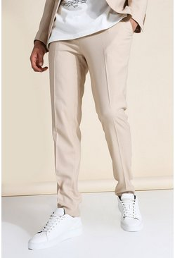 Skinny Textured Suit Trousers, Stone beige