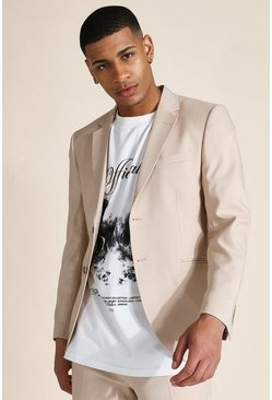 Stone beige Skinny Textured Single Breasted Jacket