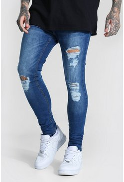 Light blue blue Super Skinny Jeans With All Over Rips