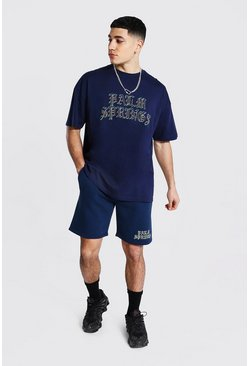 Navy Oversized Springs Ombre Print Tee and Short Set