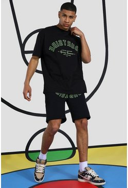 Oversized Courtside Print T-shirt & Short Set, Black Чёрный