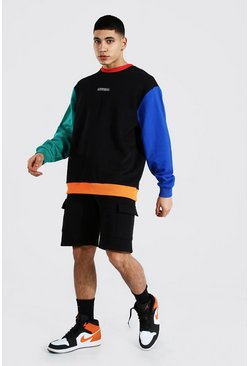 Black Oversized Colour Block Short Sweat Tracksuit