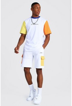 White Man Signature Colour Block Cargo Tee and Short Set