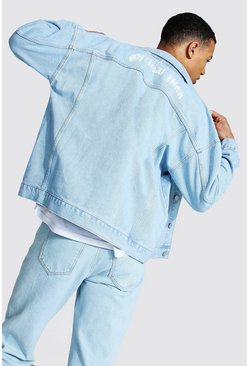 Light blue blue Tall Official Man Print Boxy Denim Jacket