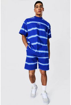 Navy Oversized Original Man Stripe Tee And Short Set