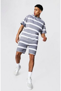 Oversized Man Official Stripe Tee & Short Set, Grey Серый