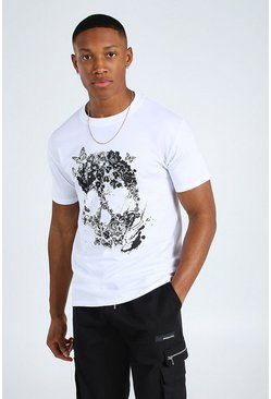 White Butterfly Skull Graphic T-Shirt