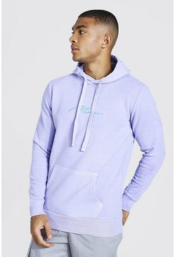 Lilac purple Man Signature Embroidered Washed Hoodie