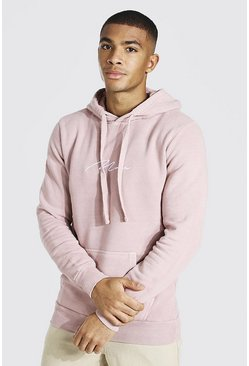 Dusky pink pink Man Signature Embroidered Washed Hoodie