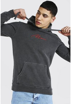 Charcoal grey Man Signature Embroidered Washed Hoodie