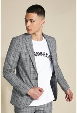 Grey Super Skinny Check Single Breasted Jacket