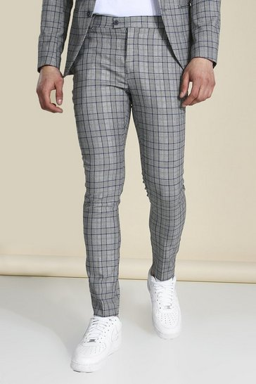 Super Skinny Grey Check Suit Trousers