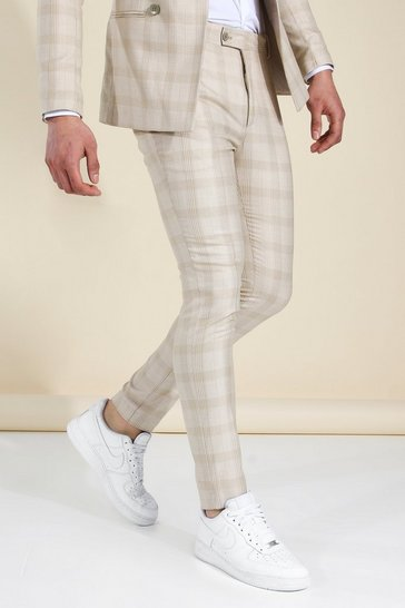 Stone beige Super Skinny Check Suit Trousers