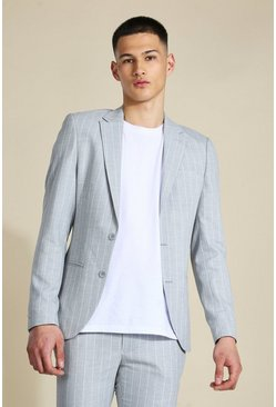 Skinny Grey Pinstripe Single Breasted Jacket
